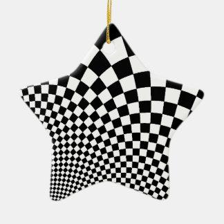 パンクの白黒抽象的なチェッカーボード セラミックオーナメント