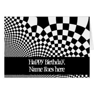 パンクの白黒歪められたチェッカーボードの誕生日 カード