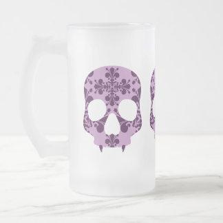 パンクの紫色のダマスク織fangedスカルのビールのジョッキ フロストグラスビールジョッキ