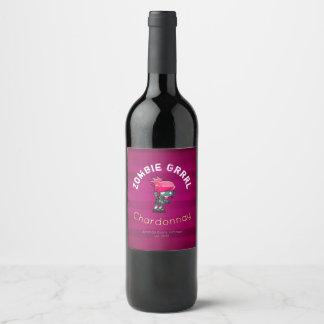 パンクロックのゾンビの女の子のワイン ワインラベル