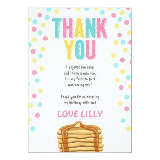 パンケーキおよびパジャマの誕生日のサンキューカード カード
