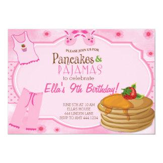 パンケーキおよびパジャマの誕生日の招待状 カード