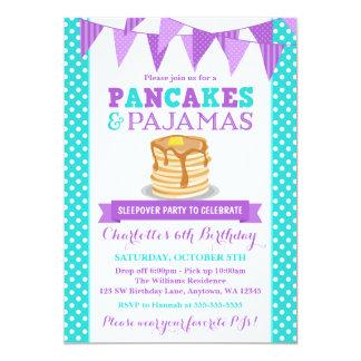 パンケーキおよびパジャマのSleepoverの紫色の誕生日 カード