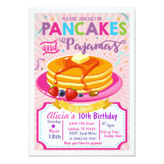 パンケーキパジャマの誕生日の招待の女の子のパーティー 12.7 X 17.8 インビテーションカード