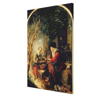パンケーキ販売人1650-55年(パネルの油) キャンバスプリント