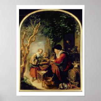 パンケーキ販売人1650-55年(パネルの油) ポスター
