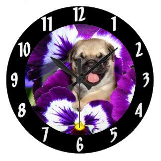 パンジーのパグ ラージ壁時計
