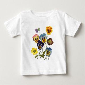 パンジーの刺繍されたパレード ベビーTシャツ