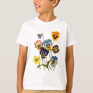 パンジーの刺繍されたパレード Tシャツ