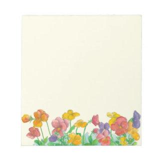 パンジーの水彩画によっては虹色が開花します メモパッド