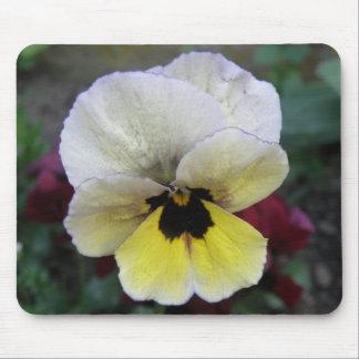 パンジーの白くおよび黄色のマウスパッド マウスパッド