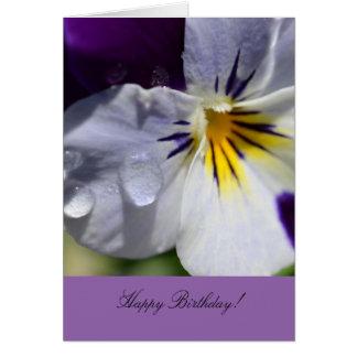 パンジーの花が付いている誕生日の挨拶状 グリーティングカード