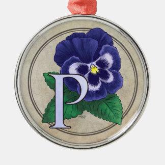 パンジーの花のモノグラムのためのP メタルオーナメント