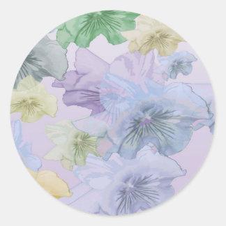 パンジーの花の背景 ラウンドシール
