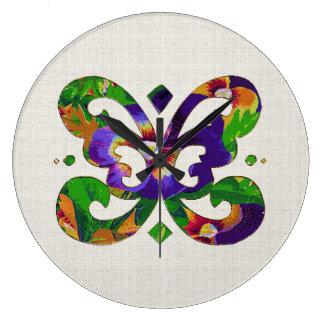 パンジーの蝶時計 ラージ壁時計