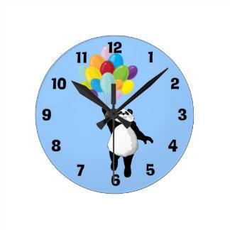 パンダおよび気球の時計 ラウンド壁時計