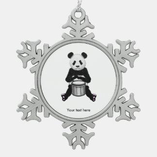 パンダくまのドラム絵 スノーフレークピューターオーナメント