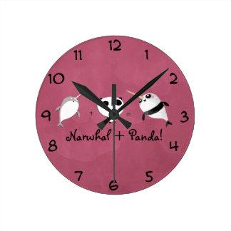 パンダとNarwhal! ラウンド壁時計