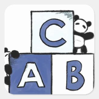 パンダのおもちゃの世界-青いABCのブロック スクエアシール