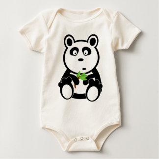 パンダのくまおよびタケ ベビーボディスーツ