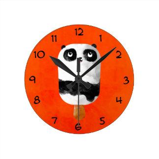 パンダのアイスキャンデーのアイスクリーム ラウンド壁時計