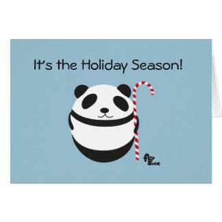 パンダのキャンディ・ケーンの休日カード カード