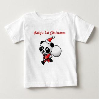 パンダのサンタのワイシャツ ベビーTシャツ