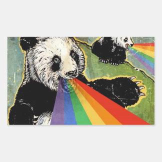 パンダのステッカー 長方形シール