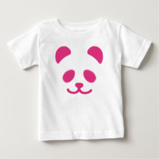 パンダのスマイリーのピンク ベビーTシャツ
