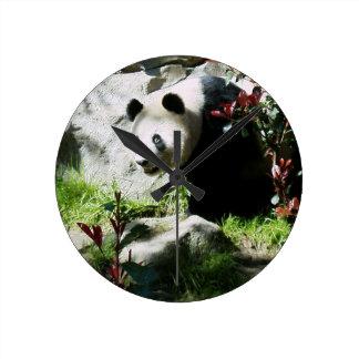 パンダのスマイルの柱時計 ラウンド壁時計