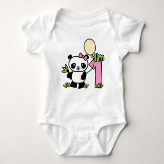 パンダの女の子の最初誕生日 ベビーボディスーツ