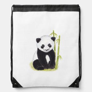 パンダの幼いこどもおよびタケの木の水彩画の絵画 ナップサック