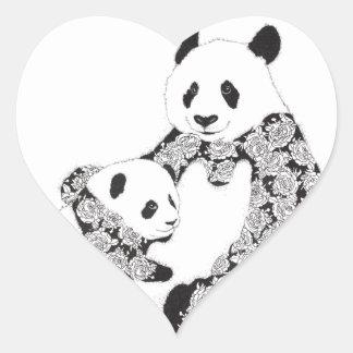 パンダの母及び赤ん坊カブス ハートシール