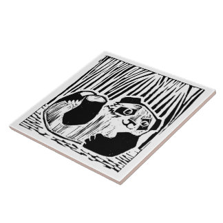 """パンダの演劇の大きい(6"""" X 6"""")陶磁器の写真のタイル タイル"""