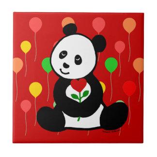 パンダの漫画およびハートの花 タイル