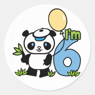 パンダの男の子の第6誕生日 ラウンドシール