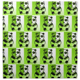 パンダの緑パターン ナプキンクロス