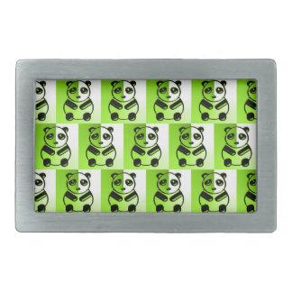 パンダの緑パターン 長方形ベルトバックル
