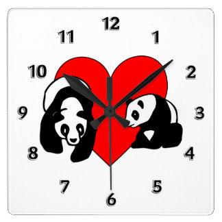 パンダ愛 スクエア壁時計