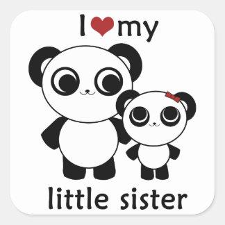 パンダ- I愛私の妹-ステッカー スクエアシール