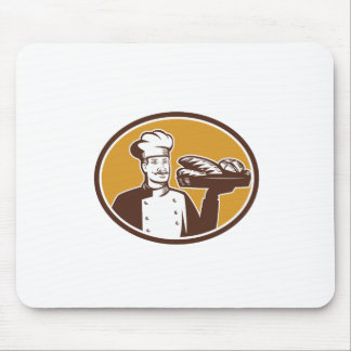 パン屋のサービングのパンの塊の木版画 マウスパッド