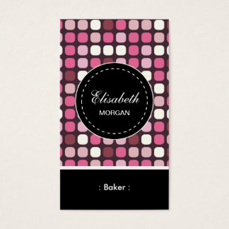 パン屋のピンクのポルカパターン 名刺