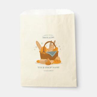 パン屋の店の好意のバッグのための手描きのパンのバスケット フェイバーバッグ