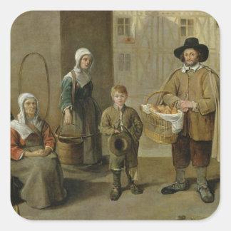 パン販売人および水キャリア スクエアシール
