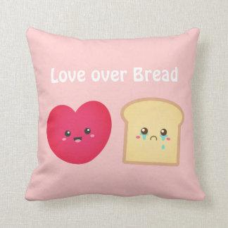 パン、かわいい食糧漫画上の愛 クッション