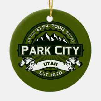 パークシティのロゴのオリーブ セラミックオーナメント