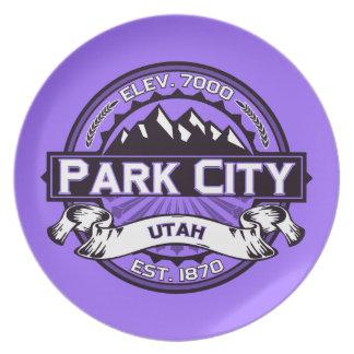 パークシティのロゴのバイオレット プレート
