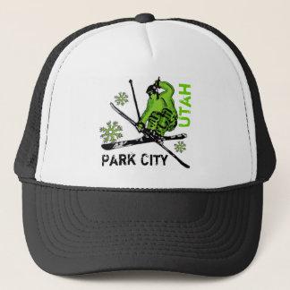 パークシティユタの緑のテーマのスキーヤーの帽子 キャップ