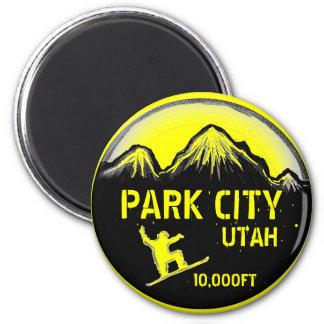 パークシティユタの黄色いスノーボードの芸術の磁石 マグネット