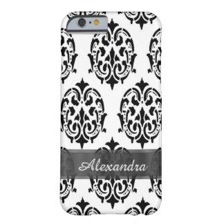パーソナライズされたでシックでエレガントな白黒ダマスク織 BARELY THERE iPhone 6 ケース